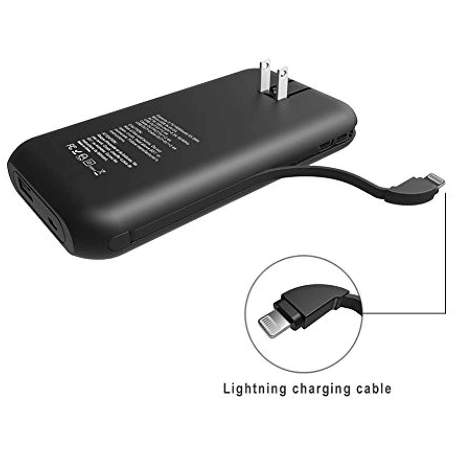 Heloideo 15000mah Iphone Lightning Cable Power Bank With Ac Plug Fast Charging Portable Charger With Built In Lightin Iphone Lightning Cable Ac Plug Powerbank