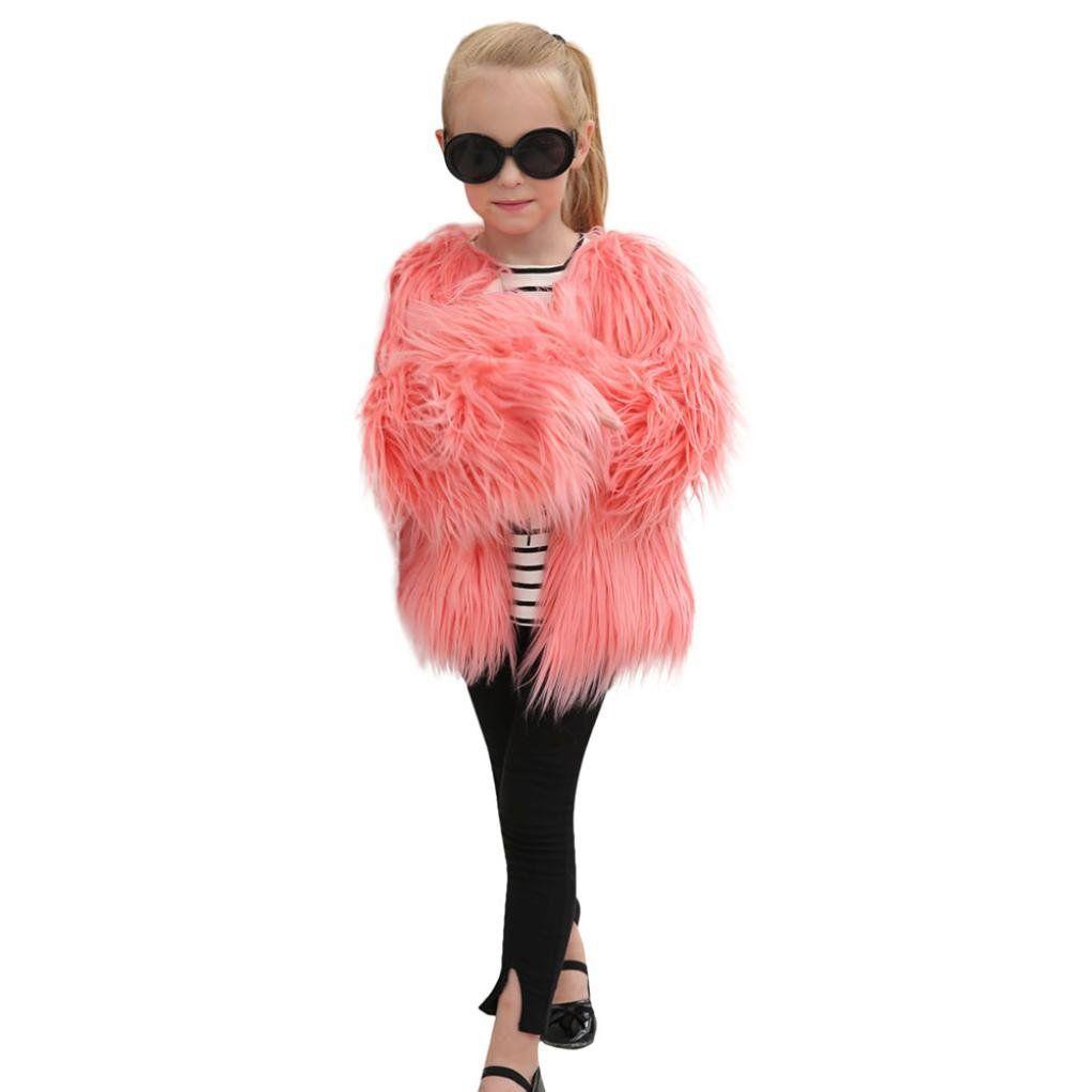 2e7444774 Ecurson Baby Girls Autumn Winter Faux Fur Coat All Match Solid Coat ...