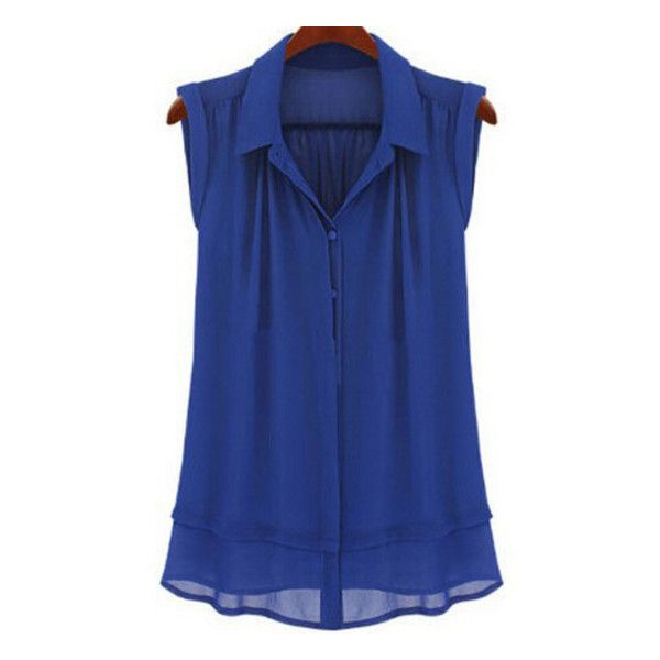 6de5167d7e53a4 SheIn(sheinside) Blue Lapel Double Layer Chiffon Blouse (€13) ❤ liked on  Polyvore featuring tops, blouses, shirts, blue, tank tops, blue button shirt,  blue ...