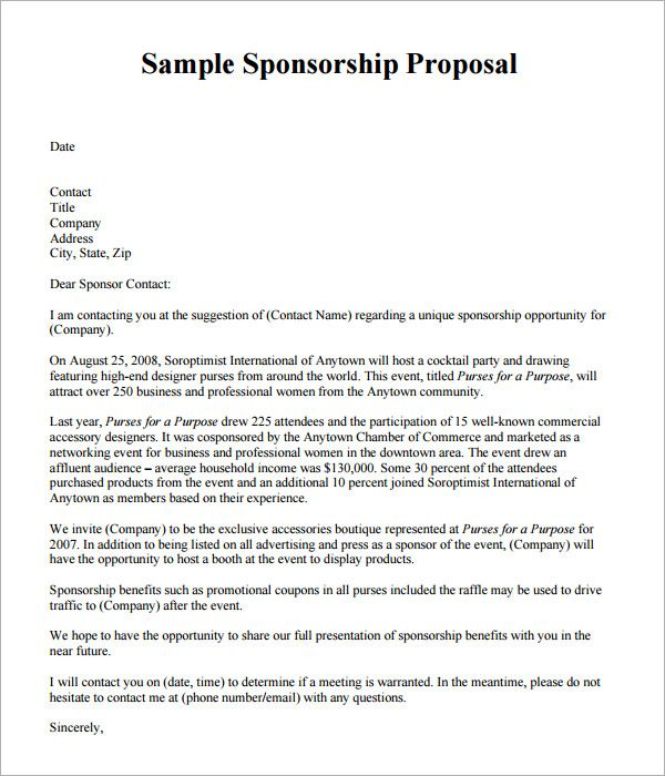 Sample Sponsorship Proposal Template Documents Pdf Word Below The