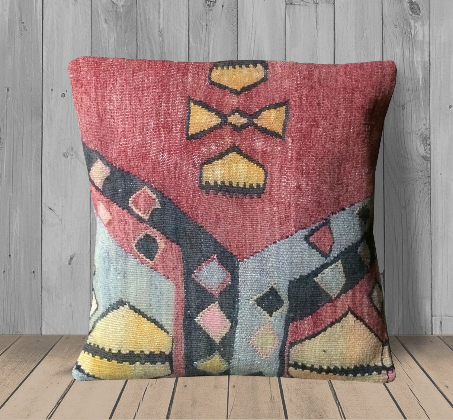 Charcoal grey soft velour pom edge rectangle cushion. Red Gray Yellow Throw Pillows Covers -16x16 - Pillow ...