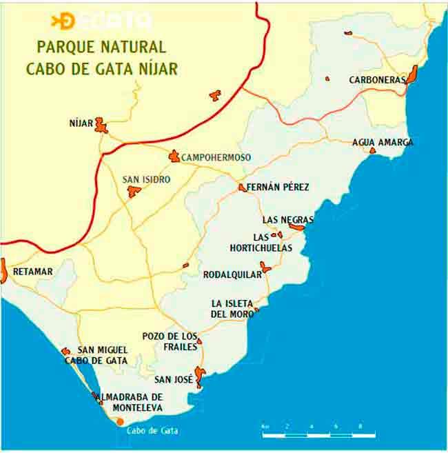 Mapa Cabo De Gata Cabo De Gata Almería Parques Naturales