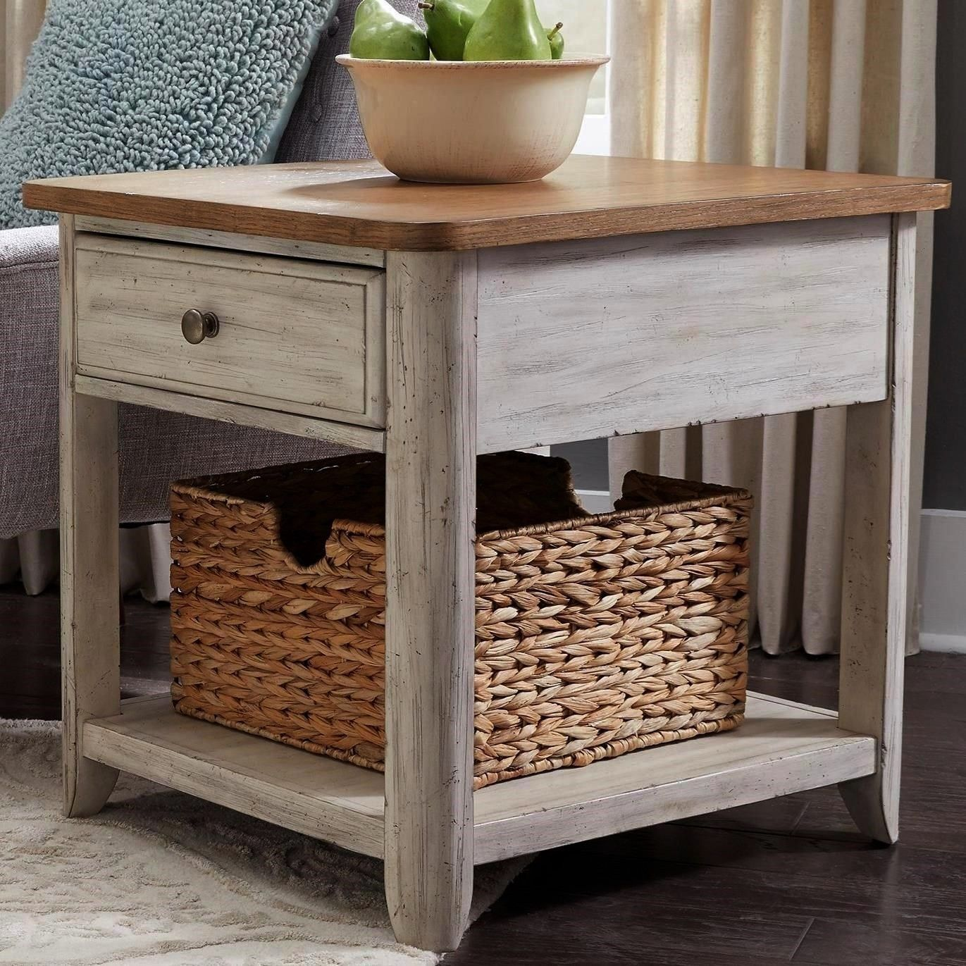 Reimagined Relaxed Vintage 1 Drawer End Table with Basket by Liberty Furniture at Darvin FurniturebasketFarmhouse Reimagined Relaxed Vintage 1 Drawer End Table with Baske...