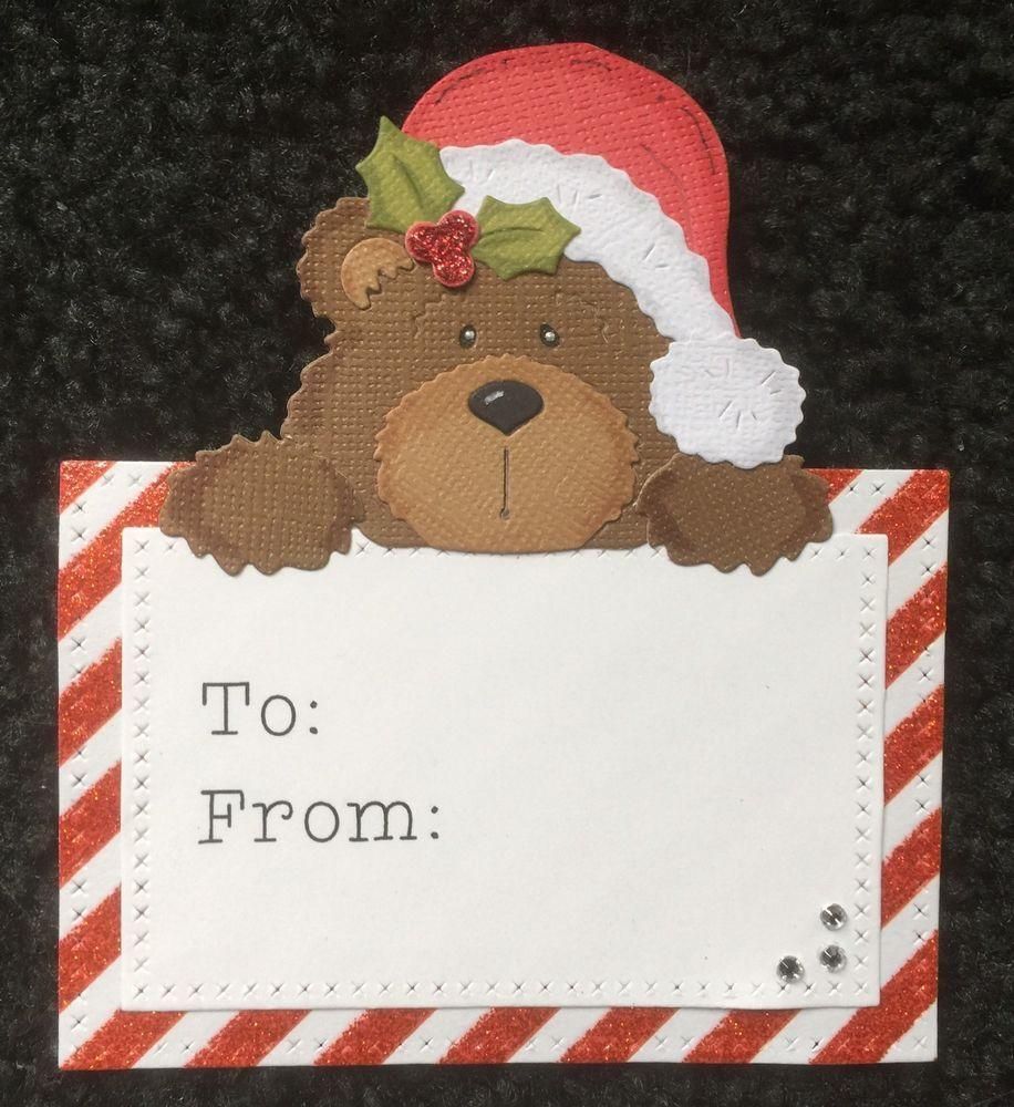 Christmas santa bear peeker gift tags set of 8