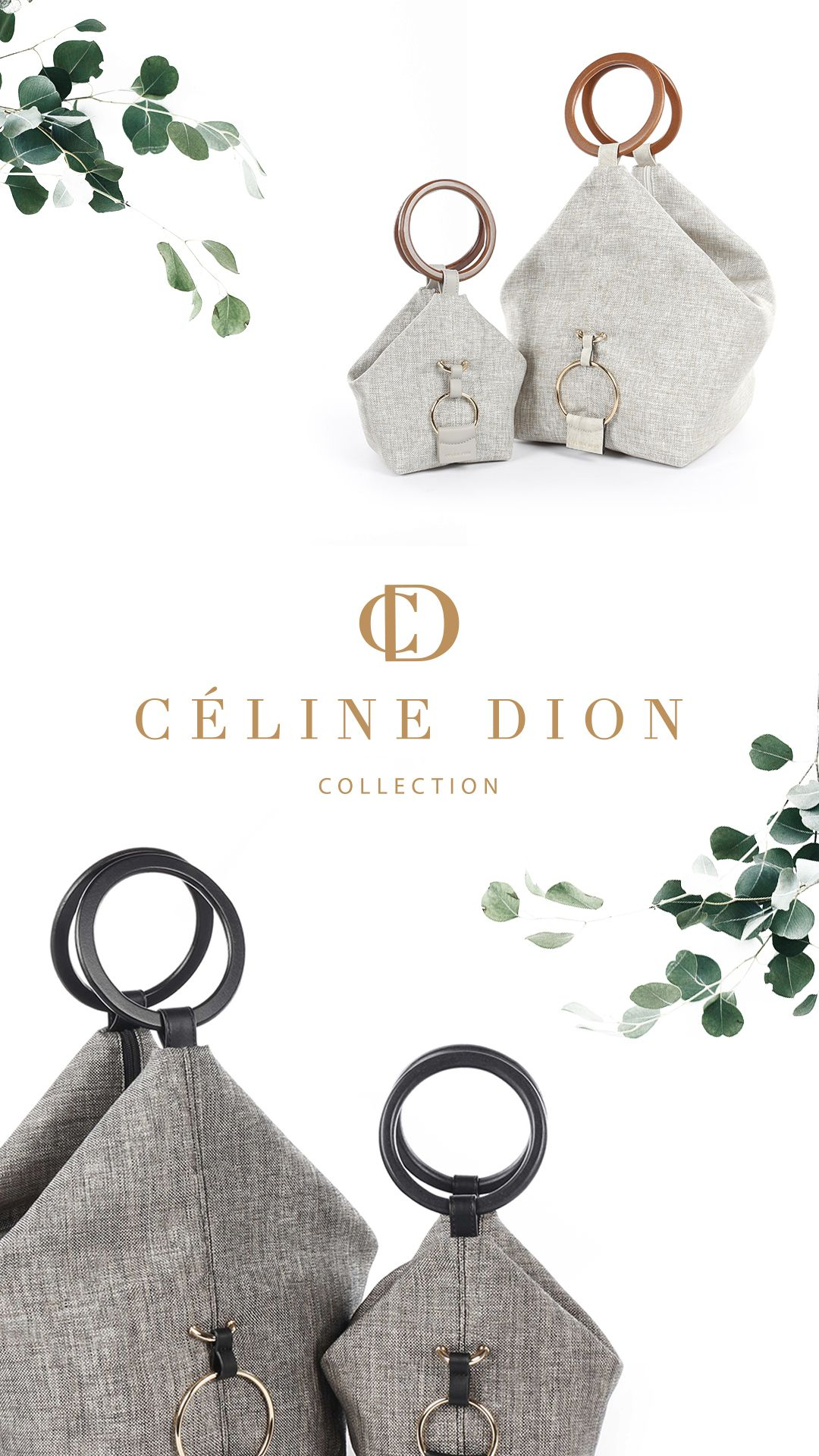 b576ae5d43c3 LIBRETTO - HANDLE BAG l Céline Dion Collection l Large triangular shaped  canvas bag Round wooden
