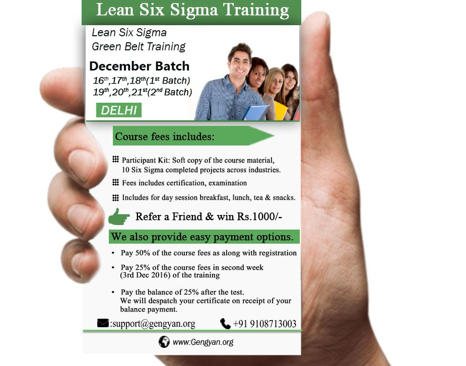 Gengyan Global Is Conducting Lean Six Sigma Green Belt On December