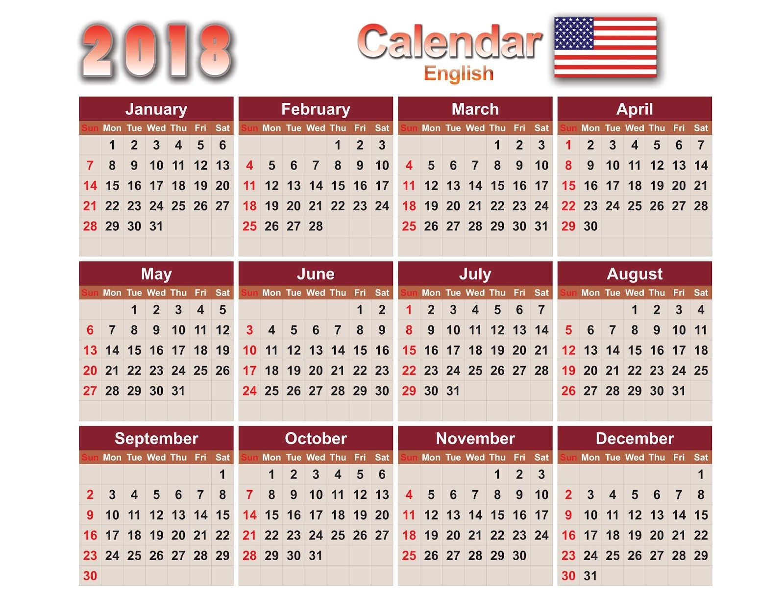 Calendars 2018 English Eps,Ai,Cdr,PSD,PNG e PDF Vector Calendar ...