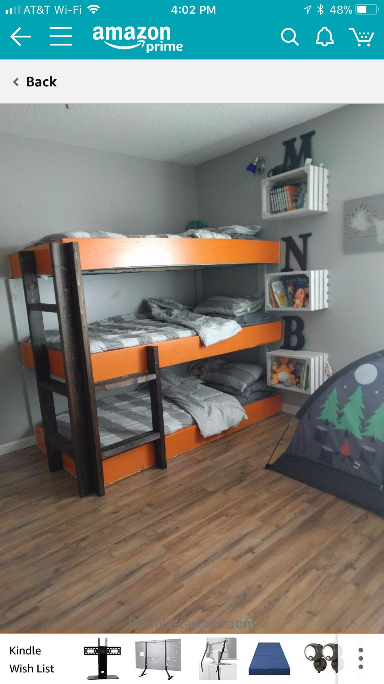 Triple Bunk Beds With Crate Nightstands Attached To The Wall Small