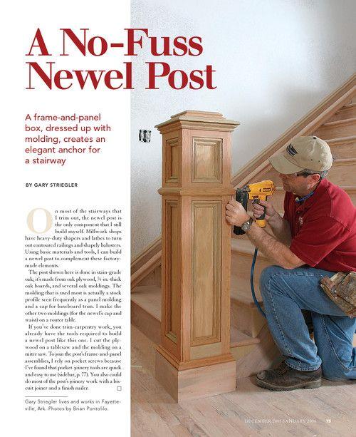 A No Fuss Newel Post Fine Homebuilding Stair Newel Post Newel Posts Diy Wainscoting