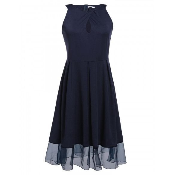 Solid Sleeveless Elegant Vintage Plus Size Dress With Pleated Swing