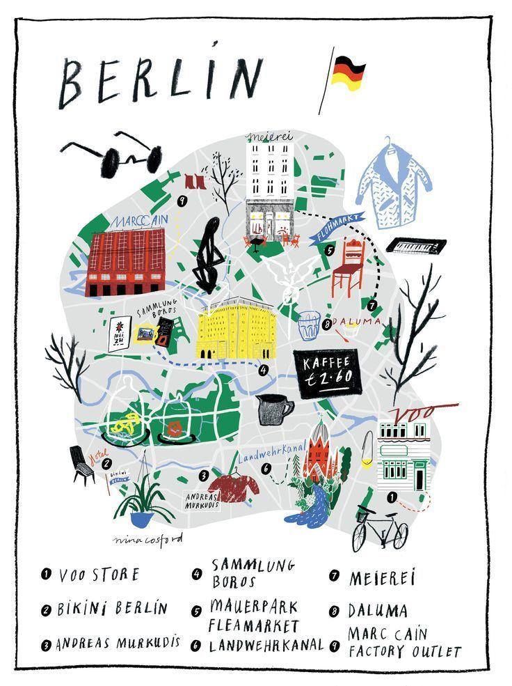 outlet store deutschland karte Reisekarte Berlin, Deutschland // Illustrierte Karte Berlin