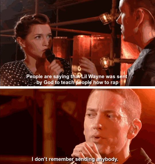 Whenever Eminem retires from music I think he has a shot at comedy - Imgur