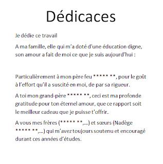 Exemples De Dédicace Pour Rapport Mémoires Et Pfe Dédicace
