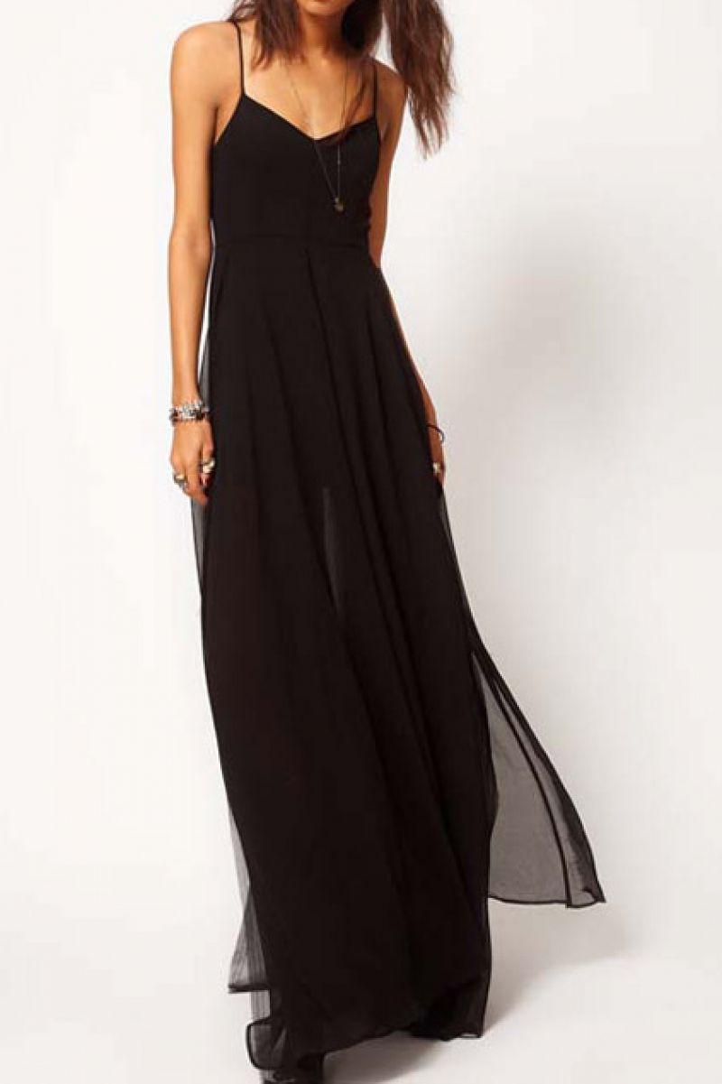 Doublelayered split side black swing maxi dress in clothes