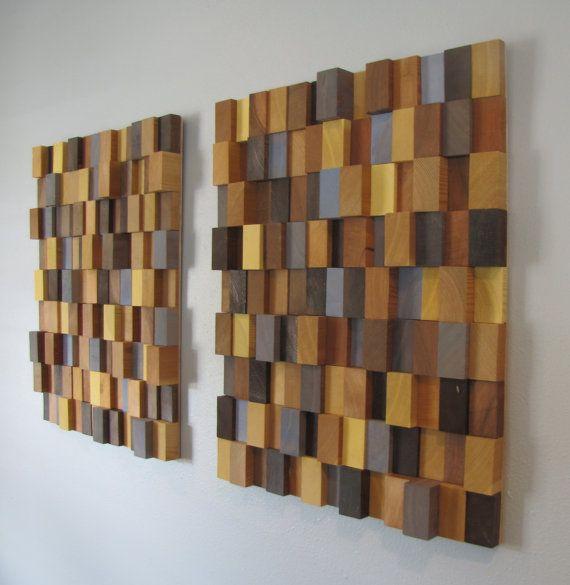 Wood Wall Art Decor handmade 3d wooden block modern wall art pair (large) - browns