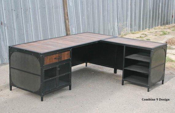 Modern Industrial L Shaped Desk Steel And Reclaimed Wood Desk Etsy Vintage Industrial Desk Reclaimed Wood Desk Industrial Desk