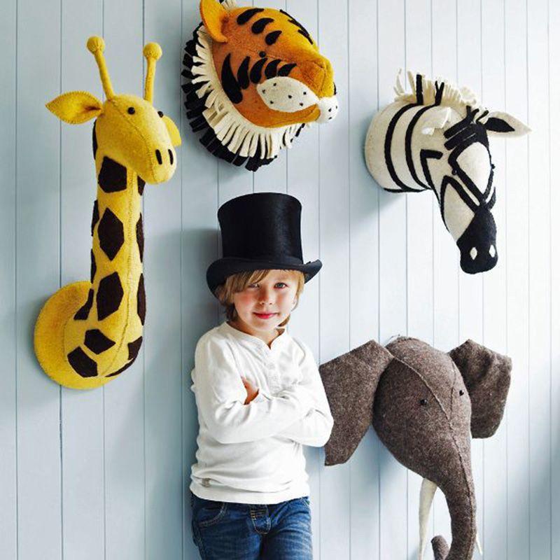 mini tier kopf stofftier flamingo giraffe fuchs zebra elefanten spielzeug kinder schlafzimmer dekoration wand hangen geburt filztiere kinderzimmer dekor deko für wohnzimmer wandobjekt metall schwarz