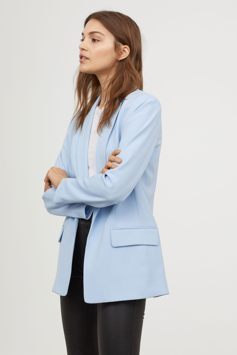 Long Jacket Light Blue Ladies H M Vn Blazer Outfits For Women Blue Blazer Women Light Blue Blazers