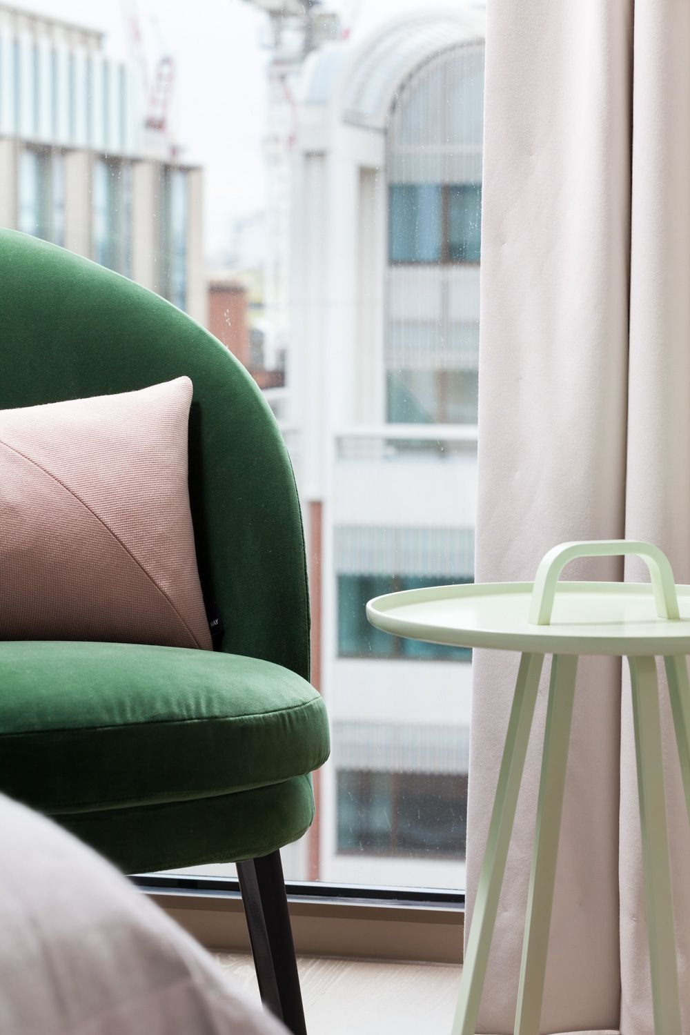 Fitzroy Place Green Velvet Chair With Hay For Cos Pink