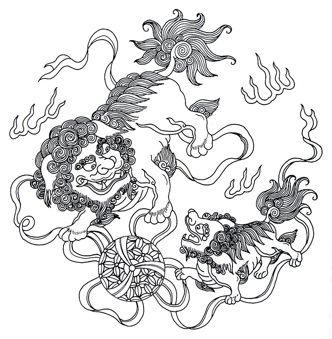 two lions  ribbons  chinese design coloring book