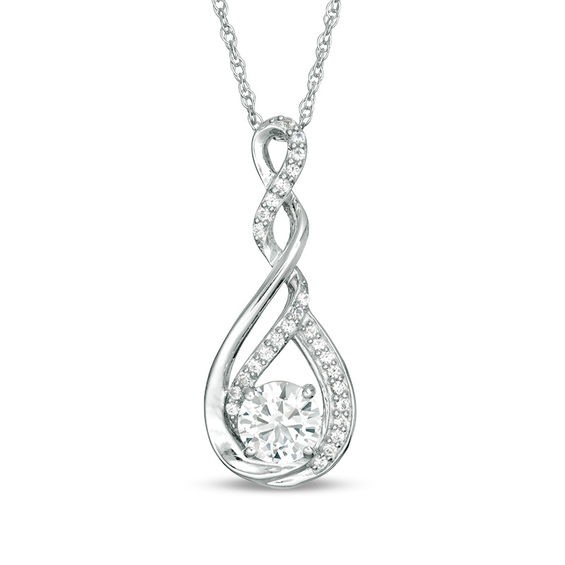 Zales 4.5mm Lab-Created Emerald and Diamond Accent Twist Pendant in Sterling Silver cxCi34