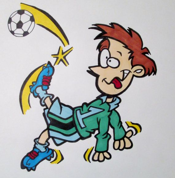 Funny Soccer Player Cartoon Drawing By Customcartoons143 On Etsy 6 00 Soccer Drawing Funny Soccer Pictures Soccer Funny