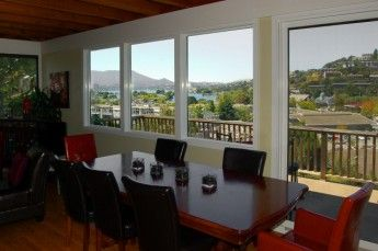 Stunning views from the dining room of this 2 bedroom, 2 bathroom Belvedere Tiburon, CA home.