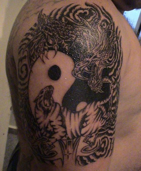 Yin Yang Dragon and Tiger Tattoo On Half Sleeve | Yin Yang ...