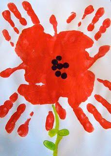 candice ashment art: Poppy Flowers - Hand Print Art #poppycraftsforkids