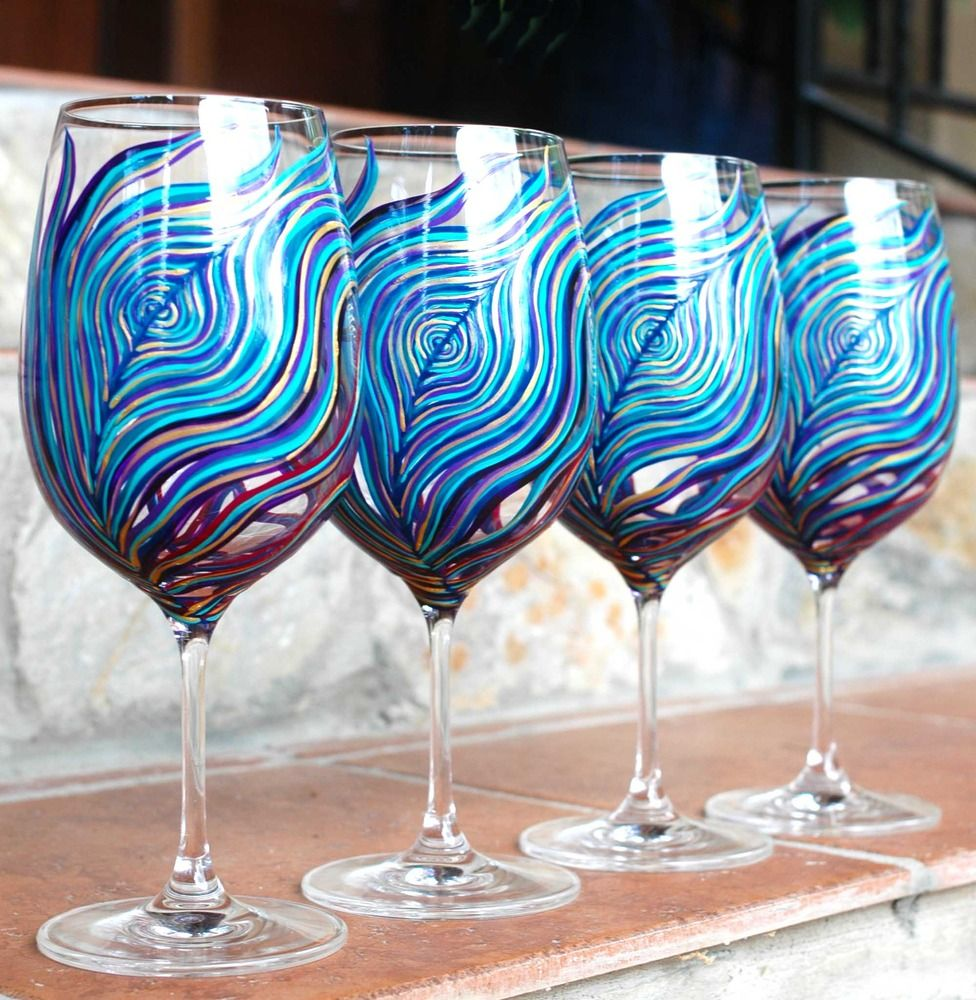 teal amethyst sapphire wedding | Amethyst and Sapphire Peacock Wine Glasses-Set of 2 | Mary Elizabeth ...