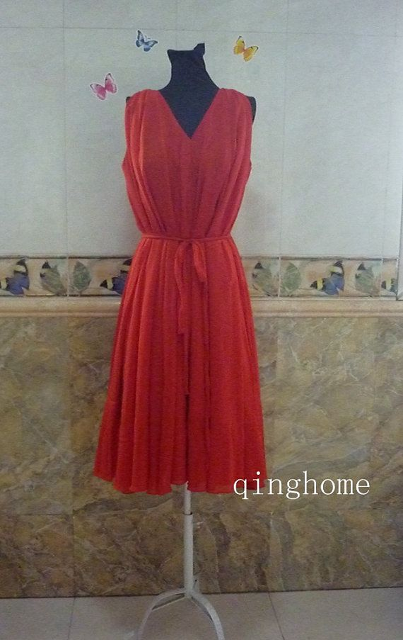 Red V neck dress maxi dress holiday dress Plus Size by qinghome