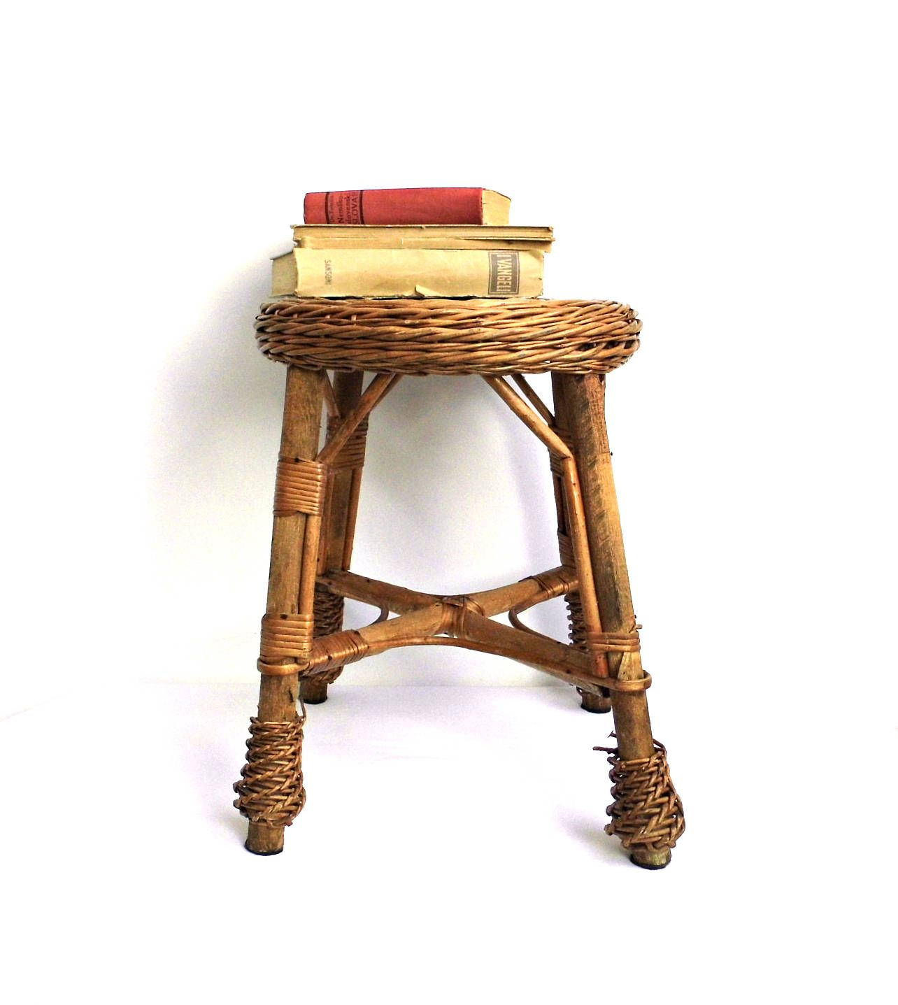 Vintage Wood Bamboo Coffee Table Rattan Small Ottoman Foot Stool Round End  Side Table Nightstand Wicker