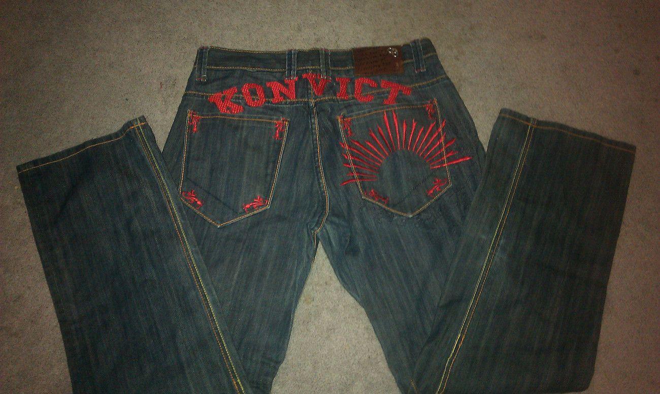 Konvict Jeans By Akon Red Embroidery 34 Hip Hop Fashion Fashion
