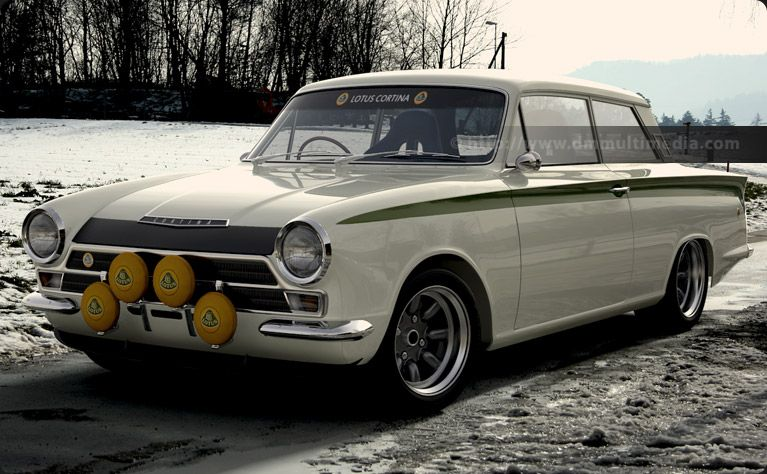 lotus cortina in white with lotus green stripes out tio play in the snow ford lotus. Black Bedroom Furniture Sets. Home Design Ideas