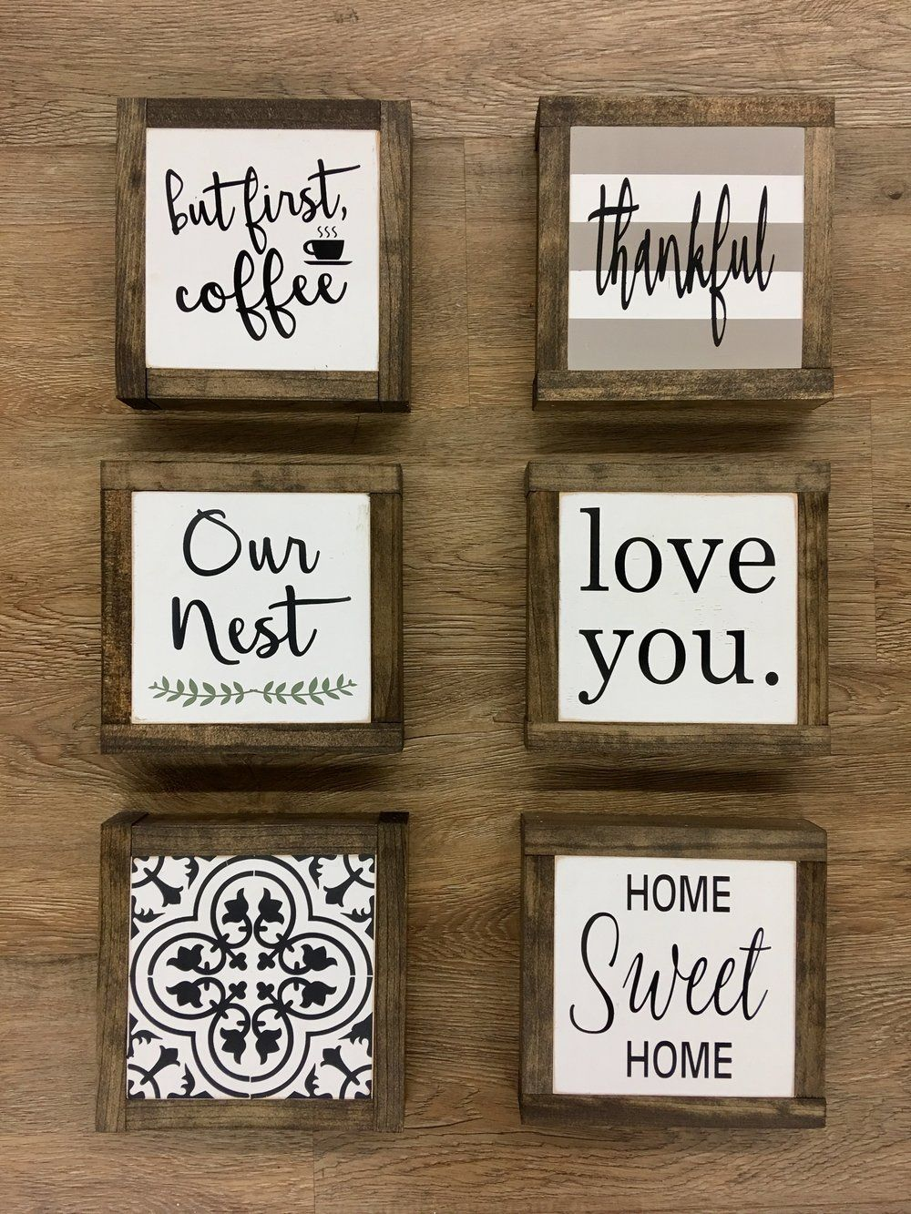 Adorable 6 X 6 Mini Signs Perfect For A Coffee Table Tray Shelf Or Other Small Area White Lightly Di Handmade Wood Signs Diy Wood Signs Rustic Wood Signs