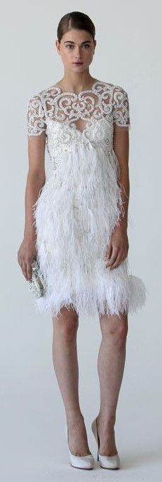 Marchesa Short Feather Wedding Dress