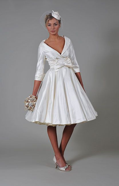 Image result for tea length wedding dresses with collar