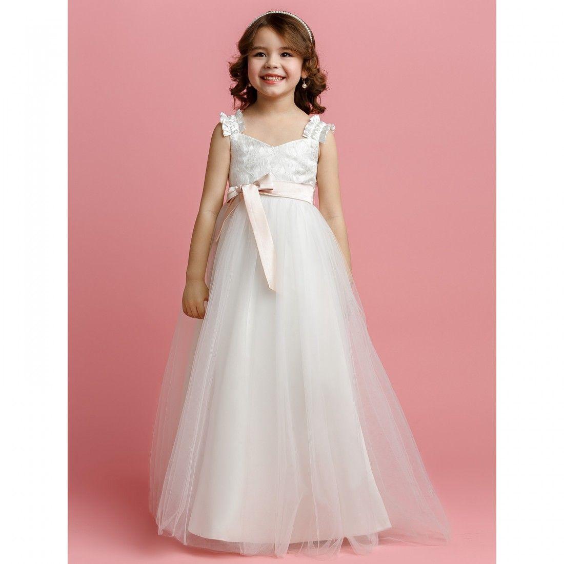 A-line Straps Floor-length Tulle Flower Girl Dress | Kiddos ...