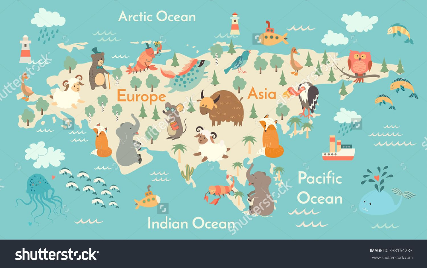Animals World Map Eurasia Eurasia Map For ChildrenKids Eurasian