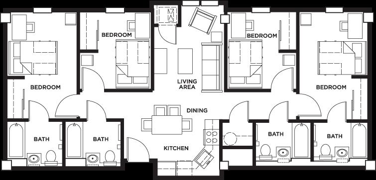 Floor Plans University Village Temple Student Apartments In Philadelphia Pa Student Apartment Hostels Design Student Hostel