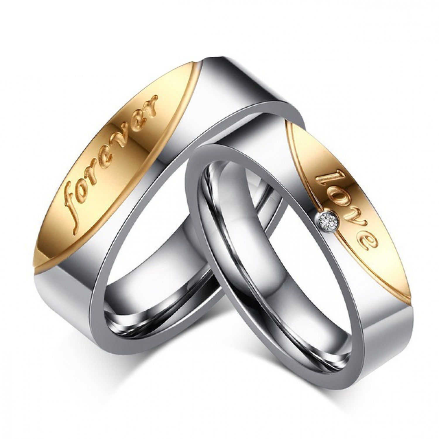 cacfdf1017 1 Pair Gift for Men Women Love Forever Couple Ring of Steel Cubic Zirconia  Jewelry Super Rings