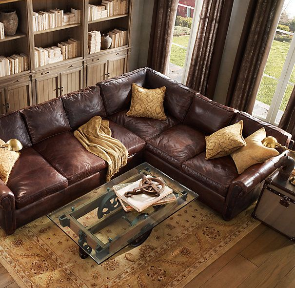 Glass Top Furniture Factory Cart Sectional Sofa Comfy Brown