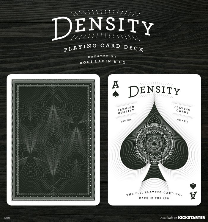 Density Playing Card Deck — Printed by USPCC by Roni Lagin — Kickstarter.  Limited edition custom-designed deck of playing cards where suit symbols are manipulated into intersecting shapes and patterns.