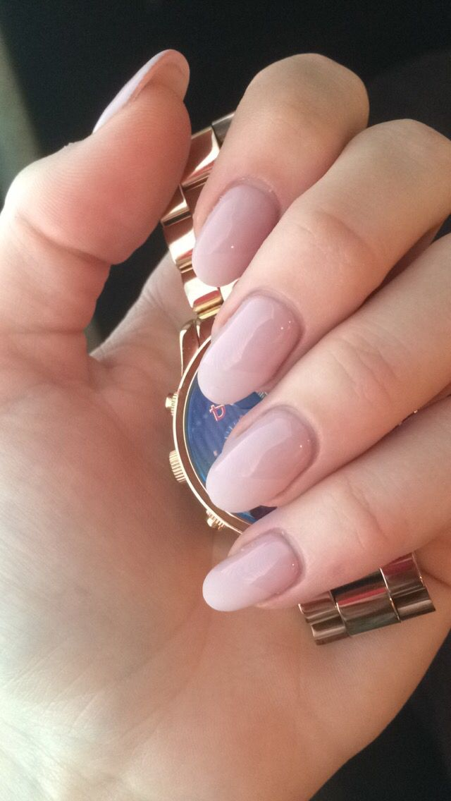 Nude pale pink, half matte, long oval nails | My love for nails ...
