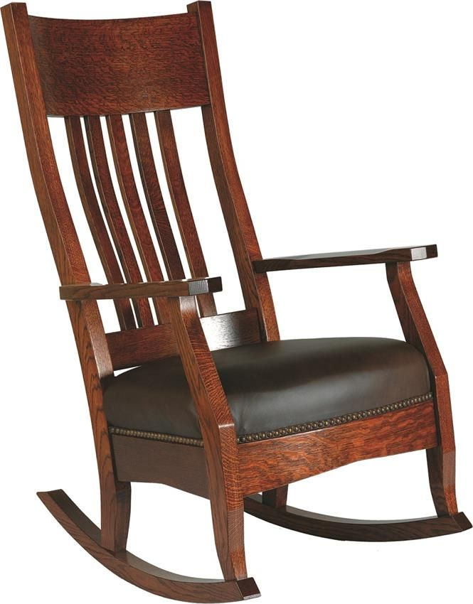 Wood Rocking Chair Styles Green Upholstered Amish Mission With Optional Footstool Chairs
