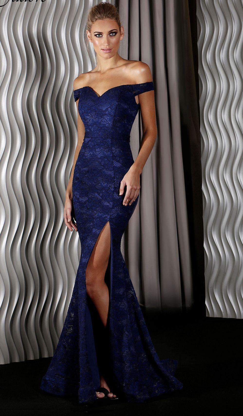 Robe longue drapée bleu marine de Soirée Pailleté Femme Bleu