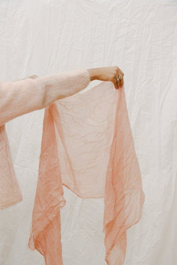 Peach Pink Wool Gauze Naturally Dyed Scarf Shawl   Zero Waste, Sustainable Slow Fashion   Dyed with