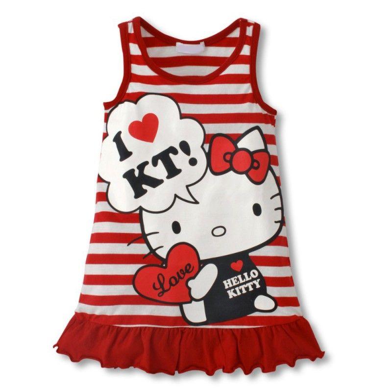 vestido infantil, transado, roupas transadas, roupa infantil, VESTIDO LOVE HELLO KITTY VERMELHO