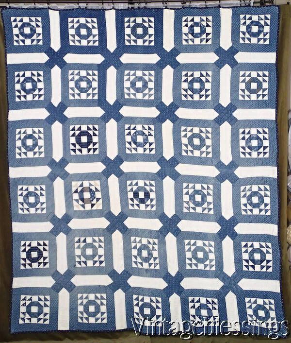 ANTIQUE QUILT c1880s Indigo Blue & White GOOSE in the POND Clean ... : cleaning antique quilts - Adamdwight.com