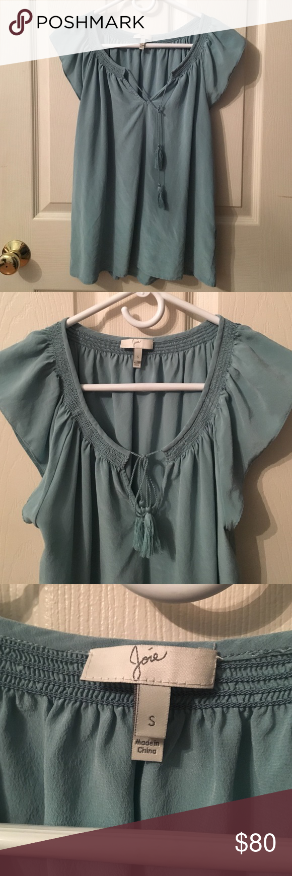 Gorgeous Joie Blouse! NWOT Gorgeous Joie Blouse! NWOT because I bought it for my mom but it didn't fit her, I had already taken all tags off 🙃 bought at Saks in November, it needs a new home! 100% silk! The tassels are cute and the sleeve cut is beautiful! Joie Tops Blouses